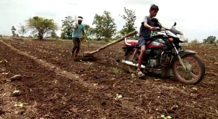 Farmers are using bikes for farming